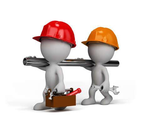 Two repairman go to perform the task. 3d image. White background. Archivio Fotografico