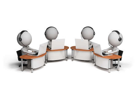 Employees working in a call center. 3d image. White background.