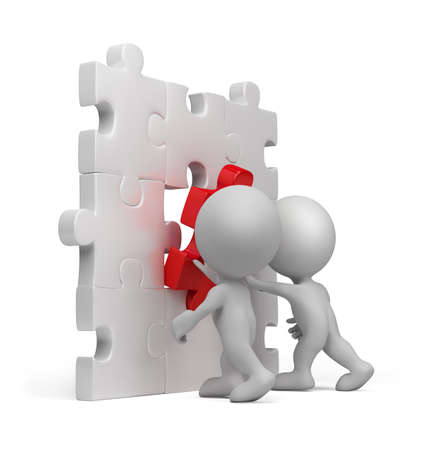 3d person inserting last part of a puzzle. 3d image. Isolated white background.