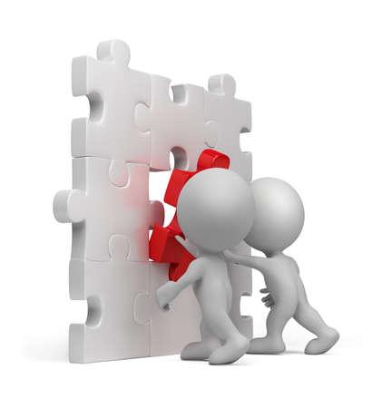 3d persona inserendo ultima parte di un puzzle. Immagine 3D. Isolato su sfondo bianco. Archivio Fotografico - 32102617