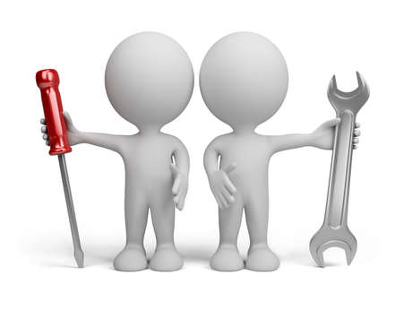 Two 3d person with the tools in the hands of. 3d image. Isolated white background.