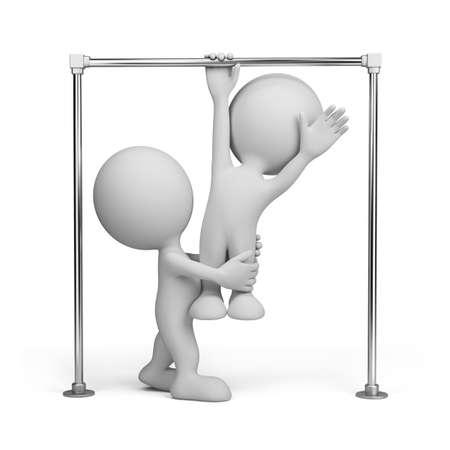 horizontal bar: Athlete on horizontal bar. 3d image. Isolated white background.