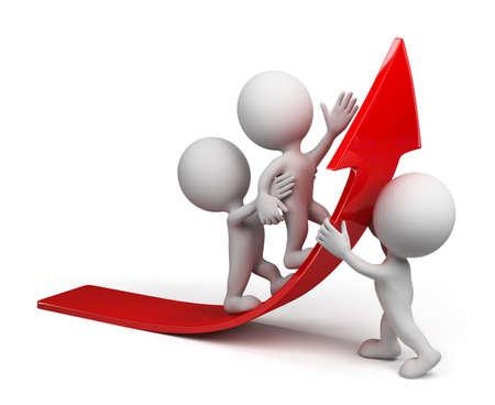 flecha direccion: Equipo se mueve hacia arriba en la imagen arrow.3d rojo. Aislado fondo blanco. Foto de archivo