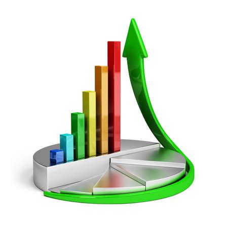 Diagrama de crecimiento financiero. Imagen en 3D. Fondo blanco.