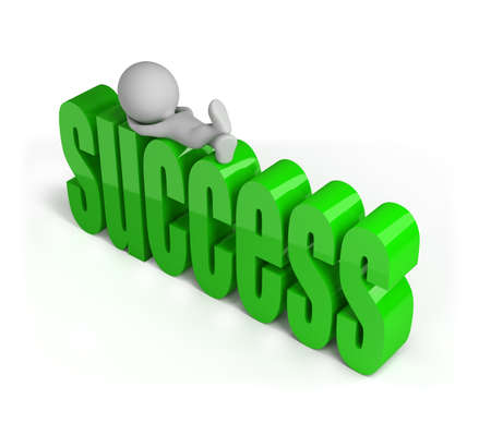 achieved: 3D person has achieved success and resting. 3D image. White background.
