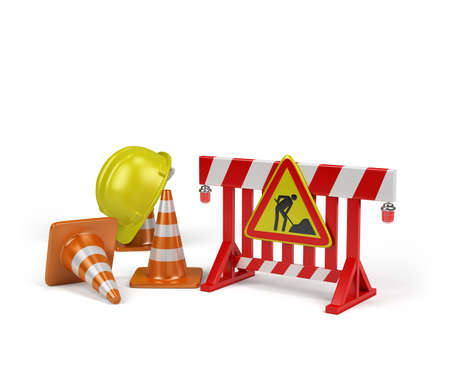 symbol yellow: Repair of road, passage is closed. 3d image. White background.