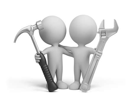 Two people with the tools in the hands of. 3d image. Isolated white background. photo