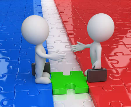 business meeting: 3d business people standing on the puzzle and make a handshake. 3d image. White background.