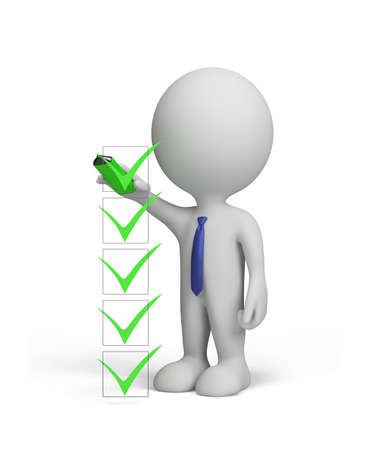 A 3d person makes a mark on the checklist. 3d image. White background.