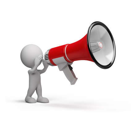 expostulate: 3D man speaks in a big megaphone. 3d image. White background. Stock Photo