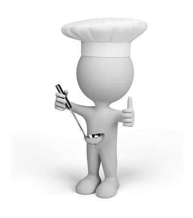 Cook with a ladle. 3D image. White background. Stok Fotoğraf