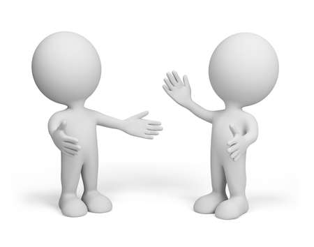 Meeting of two friends. 3d image. Isolated white background.