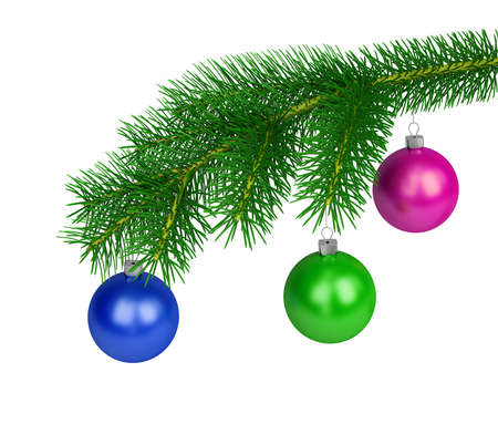 christmastide: Green branch of pine with colored balls. 3d image. White background.