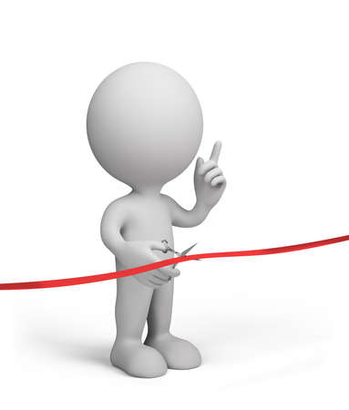 inauguration: 3d person cuts the red ribbon with scissors. 3d image. White background. Stock Photo