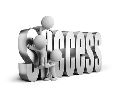 help each other: 3d people help each other achieve success. 3d image. White background.