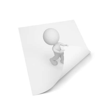 3d person turns the page. 3d image. White background.