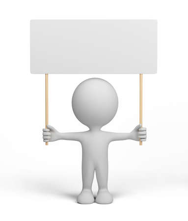 demonstrator: 3d man with a white billboard. 3d image. White background.