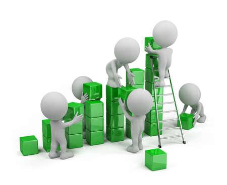 Los empleados construyen un gr�fico de beneficios. Imagen en 3D. El fondo blanco.