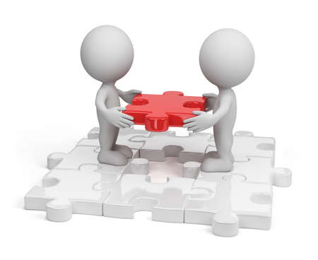 Two person inserting last piece of the puzzle. 3d image. White background.