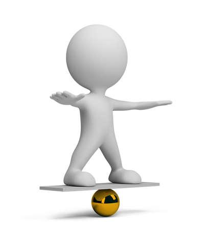 3d persona en equilibrio sobre una pelota. Imagen en 3D. Fondo blanco.