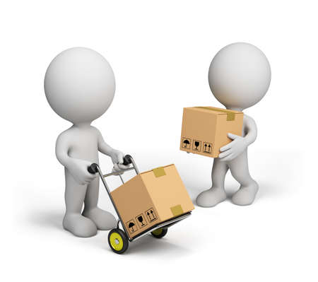 package delivery: 3D person carries boxes on a trolley. 3D image. White background. Stock Photo