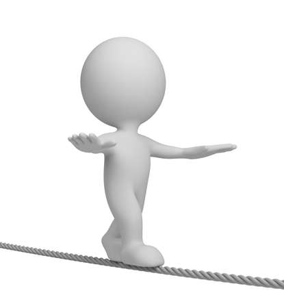 acrobatic: 3d person walking on a tightrope. 3d image. White background.