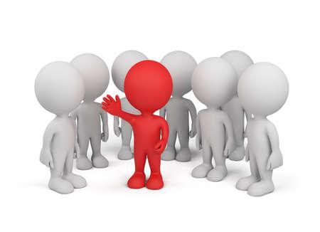 Een business team met de leider in het centrum. 3d beeld. Witte achtergrond. Stockfoto - 32497612
