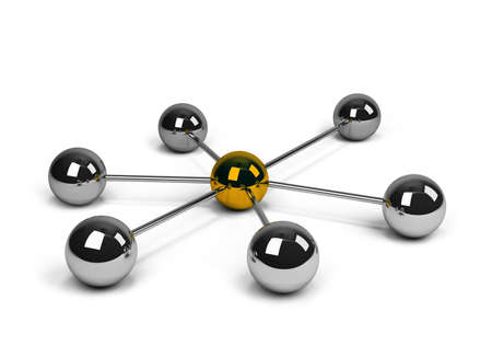 Abstract conception of network and communication. 3d image. White background. Archivio Fotografico