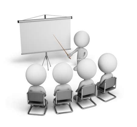 La formazione dei lavoratori nella sala conferenze. Immagine 3D. Sfondo bianco. Archivio Fotografico - 32497615