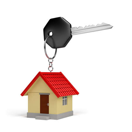 The key to a new home. 3d image. White background. photo