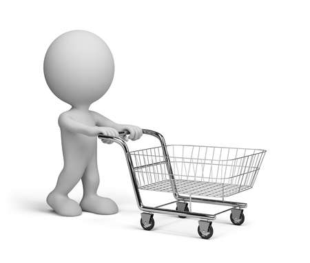 3d person with basket goes shopping. 3d image. White background. photo