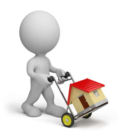 A man transports a house on a trolley. 3d image. White background.