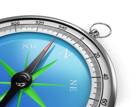 indicates: The compass indicates the direction of movement. 3d image. White background.