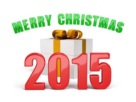 Regalos y saludos de Navidad. Imagen en 3D. Fondo blanco.