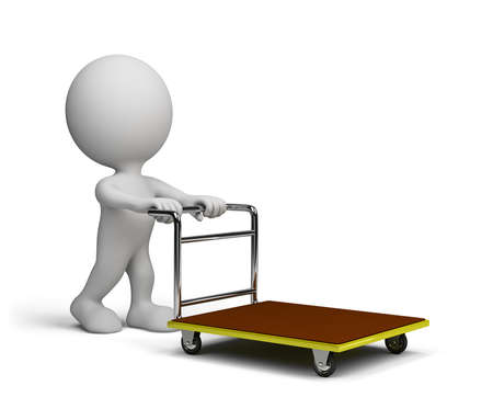 A man with a handcart goes shopping. 3d image. White background. Stock Photo
