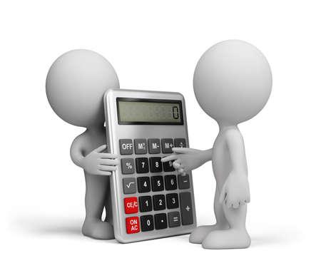 El hombre hace los c�lculos con una calculadora. Imagen en 3D. Fondo blanco.