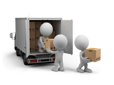 Trabajadores descargar el coche con las cajas. Imagen en 3D. Fondo blanco.