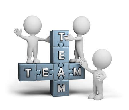 El amable equipo est� listo para trabajar. Imagen en 3D. Fondo blanco.