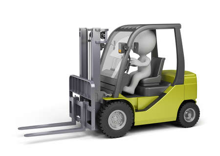 forklift truck: 3D person on the forklift truck. 3d image. White background.