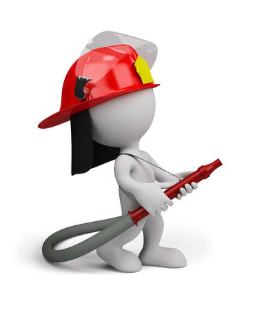 Firefighter with water gun does the job. 3d image. White background.
