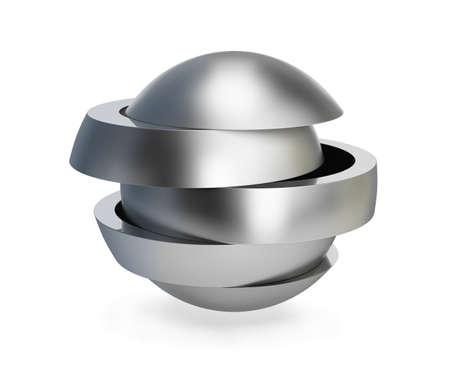 Bola de metal plegable. Imagen en 3D. Fondo blanco.