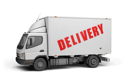white truck: Delivery of goods to the consumer. 3d image. White background.