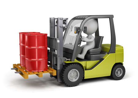 Forklift carrying barrels. 3d image. White background. photo
