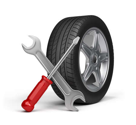 Reparaci�n de mantenimiento de veh�culos de motor. Imagen en 3D. Fondo blanco. Foto de archivo