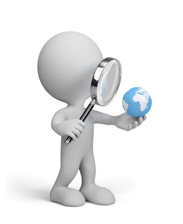 chrome man: 3d man looking at globe through a magnifying glass. 3d image. White background.