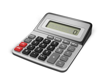 calculator money: Modern electronic calculator. 3d image. White background.