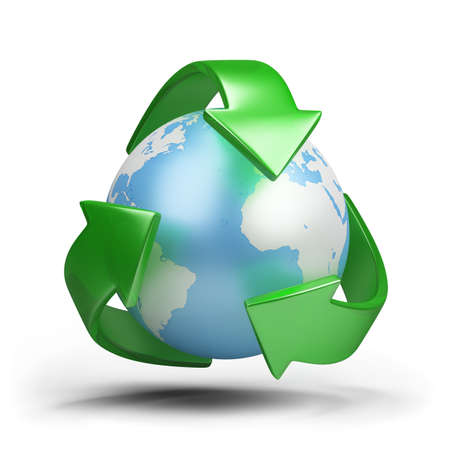 recycling: Green earth - ecological concept. 3d image. White background. Stock Photo