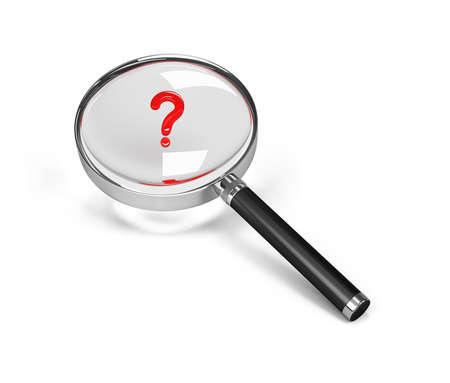 Punto interrogativo sotto una lente di ingrandimento. Immagine 3D. Sfondo bianco. Archivio Fotografico - 39841081