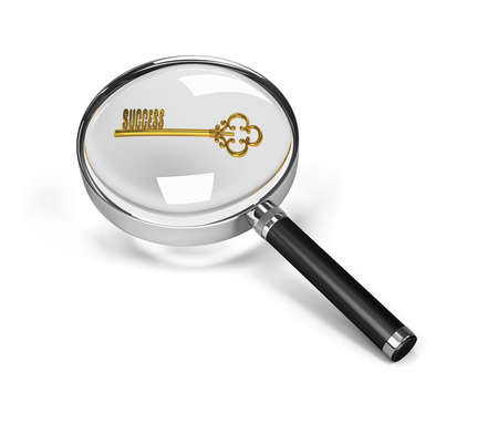 business opportunity: Key under the magnifying glass. 3d image. White background. Stock Photo
