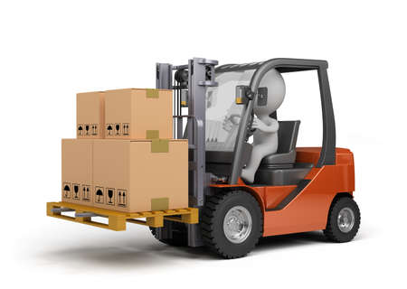 Forklift carrying boxes. 3d image. White background. Stock Photo